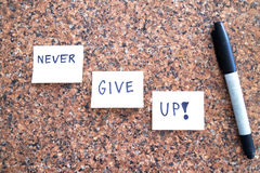 Never give up. Quote in full focus with a rocky background Royalty Free Stock Photography