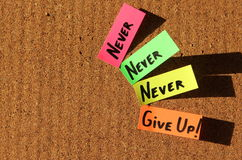 Never give up!. Sticky notes forming text - Never give up Stock Photo