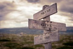 Never give up text on wooden signpost royalty free stock photo