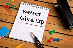 Never give up word Stock Images