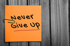 Never give up word Royalty Free Stock Photos