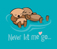 Never let me go. Vector illustration with two sea otters holding their paws in the dream that they are not separated by the stream royalty free illustration
