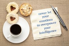 Never let your emotions to overpower intelligence stock photo
