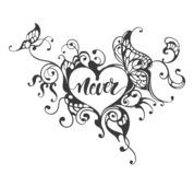 Never - lettering text in ornate heart frame vector illustration