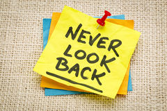 Never look back advice royalty free stock photos