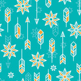 Never lost. Vector seamless ethnic pattern with feathers and arrows royalty free illustration