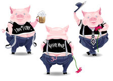 Never mind. Three funny pig characters with beer, flower and text Stock Photos