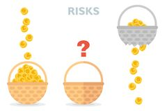 Never put all eggs in one basket vector illustration of risks diversification.  stock illustration
