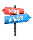 Never, always road sign illustration design Royalty Free Stock Photos