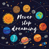 Never stop dreaming. Motivation vector illustration Stock Photography