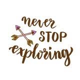 Never stop exploring. Creative design for poster, cards, t-shirt design. Handwritten lettering. Vector art. Motivational design.  Stock Photo