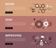Never Stop Improving. Web banners  set Royalty Free Stock Photography