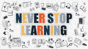 Never Stop Learning in Multicolor. Doodle Design. Stock Photography