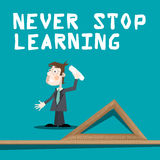 Never Stop Learning Slogan Stock Photo