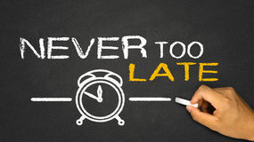 Never too late. On blackboard Royalty Free Stock Photo