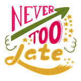 Never too late. The poster with a motivational phrase. Royalty Free Stock Photos