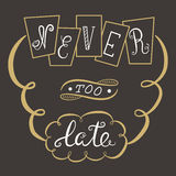 Never too late. The poster with a motivational phrase. Hand lettering Royalty Free Stock Images