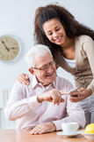 Never too old for new technology Royalty Free Stock Photos