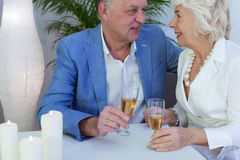 Never too old to be in love. Older elegant couple drinking champagne during wedding anniversary celebration Royalty Free Stock Images