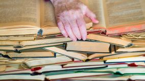 Never too old to learn - Hands of old woman reading book royalty free stock photos