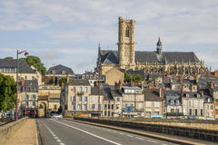 Nevers, Bourgogne, France. Nevers is the prefecture of the Nièvre department in the Bourgogne-Franche-Comté region in central France. It was the principal city Royalty Free Stock Image