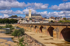 Nevers in Burgundy, cathedral and river Loire. France Royalty Free Stock Image