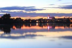 Nevers domkyrka i solnedgången Fotografering för Bildbyråer