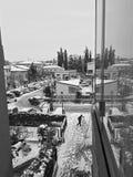 Nevicando nei cityChristmas 2017 Immagini Stock