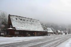 Nevicando nel Giappone Fotografia Stock Libera da Diritti