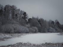 Nevicando nell'inverno di Natale nel villaggio Fotografia Stock