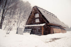 Nevicando a Shirakawago Fotografia Stock Libera da Diritti