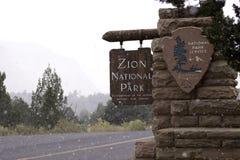 Nevicando a Zion Fotografia Stock