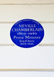 Neville Chamberlain Plaque in London Stock Photos