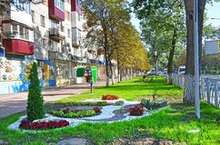Nevinnomyssk, Russia, September, 13, 2018. Mendeleev street in Nevinnomyssk in september stock images