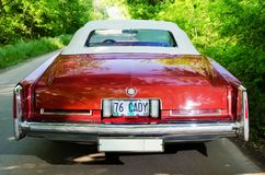NEVINOMYSSC, RUSSIA - MAY 13, 2016: Automobiles. Offsite photography of old American cars. Cadillac Eldorado Convertible. 1976s. View of Rear view of machine on Royalty Free Stock Photography