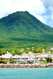Nevis Harbor Sea/Ocean. Harbour, Nevis. trenquil, blue sky with light clouds and rich colours Royalty Free Stock Image