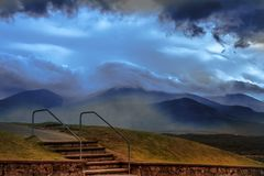 Stairs near Commando Memorial and Nevis Range, Scotland stock images