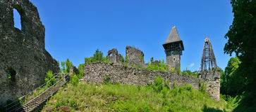 Nevitsky Castle ruins panorama Stock Photos