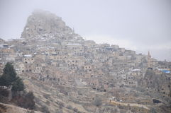 Nevsehir cave city in Cappadocia Royalty Free Stock Photography