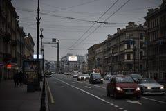 Nevskiy prospekt在圣彼得堡,俄罗斯 免版税库存照片