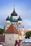 nevsky亚历山大的大教堂 城市爱沙尼亚大厅老塔林托马斯塔城镇翻板天气 免版税库存照片