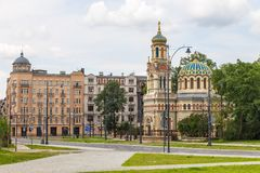 nevsky alexander domkyrka Ortodox kyrka som lokaliseras i staden av Lodz arkivbilder