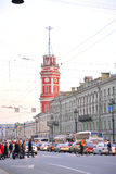 Nevsky Prospect in center of Petersburg. Royalty Free Stock Photo