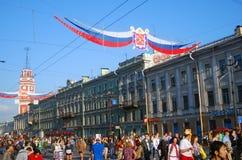 Nevsky prospect on the City Day celebration. SAINT-PETERSBURG, RUSSIA - MAY 26: Many people on Nevsky prospect celebrating The Day of the City. Taken on May 26 Royalty Free Stock Photo