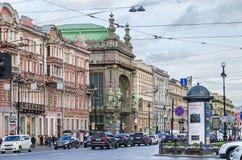 Nevsky Prospect with Elisseeff Emporium Royalty Free Stock Photo