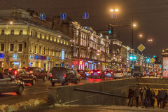 Nevsky Prospect, the entrance to the underground passage. Winter night, St. Petersburg, Russia Royalty Free Stock Photos