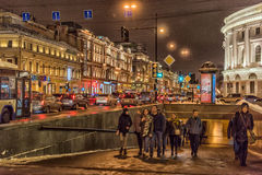 Nevsky Prospect, the entrance to the underground passage. Winter night, St. Petersburg, Russia Royalty Free Stock Images