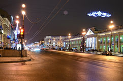 Nevsky Prospect in evening illumination Stock Images
