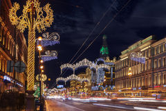 Nevsky Prospect at night Christmas illumination in St. Petersbur. SAINT PETERSBURG, RUSSIA - JANUARY 1, 2017: Nevsky Prospect at night Christmas illumination. It Royalty Free Stock Photos