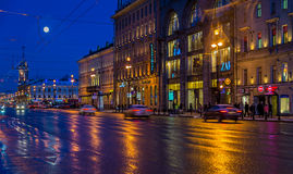 Nevsky Prospect at Night Royalty Free Stock Image